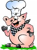 Hand-drawn Vector Illustration Of An Chef Pig Standing And Pointing