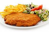 stock photo of roasted pork  - Fried pork chop French fries and vegetables - JPG