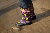 Childs Wellies On Beach