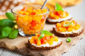 toast with pumpkin and red bell pepper chutney