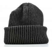 Black wool beanie hat cap perfect for winter weather isolated on white background