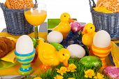 pic of duck egg blue  - Detail easter table with eggs and bread rolls - JPG