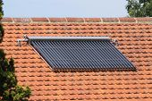 Solar hot water panels on house roof