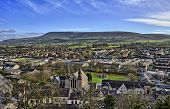 Pendle Hill, viewed across the town of Clitheroe