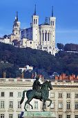 Famous Statue And Fourviere Basilic