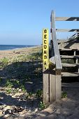 Wooden boardwalk and steps to beach