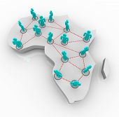 picture of north sudan  - A map of Africa on white with a network of people standing atop it - JPG