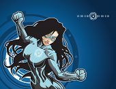 Technologically advanced looking female superhero in a cyber environment.