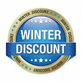 Winter Discount Button Blue Gold