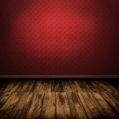 Dark Vintage Red Room Interior With Wooden Floor