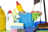 stock photo of nana  - Set of cleaning fluids and disinfectants to clean kitchenware - JPG