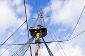 Marine Rope Ladder, Mast And Ropes Of A Classic Sailboat