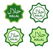 Halal food product labels.