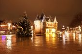 Christmas in Amsterdam at the Nieuwmarkt in the Netherlands by night