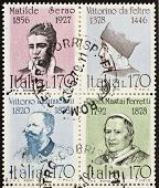 ITALY �?�¢?? CIRCA 1978: a block of four stamps printed in Italy shows portraits of  famous Itali