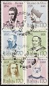 ITALY �?�¢?? CIRCA 1978: a block of six stamps printed in Italy shows portraits of  famous Italia