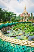 Pond Of Lotus In Front Of Crematorium