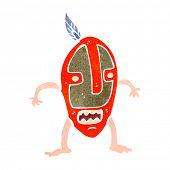 retro cartoon man in tribal mask