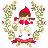 stock photo of little red riding hood  - a cute little girl in little red riding hood - JPG