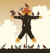 Editable vector silhouette of a flock of pigeons around a scarecrow