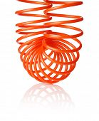 Orange red thin spiral air hose used for pneumatic tools, isolated on white with natural shadow.