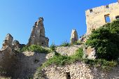 WACHAU, AUSTRIA - AUGUST, 2012 : Ruins of Durnstein Castle on the rocks on August 12, 2012. It was b
