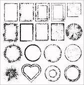 Set of grunge frames. Vector illustration