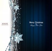 Elegant christmas background with blue garland and stars. Vector illustration
