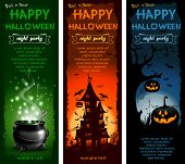Set of Halloween night backgrounds with pumpkin, haunted house and magic cauldron