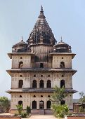 Bundela Cenotaph, One Of Many, At The Shore Of Betwa River In India's Orchha.