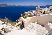 White architecture of Fira town on Santorini island, Greece