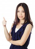 Asian woman thumb up