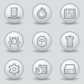 Internet security web icons, circle white matt buttons