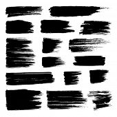 Vector set of grunge watercolor broad brush strokes.  Black collection of black vector oil paint bru