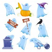 Set of 9 happy halloween ghosts in various situations