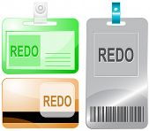 Redo. Id cards. Raster illustration.
