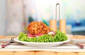 picture of butter-lettuce  - Chicken Kiev on croutons with lettuce salad - JPG