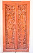 Wood Door At Temple In Northern,thailand.