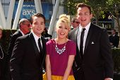 LOS ANGELES - SEP 15:  Nathan Kress, Jennette McCurdy, Noah Munck at the Creative Emmys 2013 - Arriv