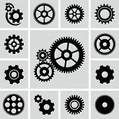 stock photo of clocks  - Gear wheels icons set - JPG