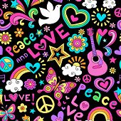 Peace, Love, and Music Seamless Pattern Groovy Retro Notebook Doodle Design- Hand-Drawn Illustration