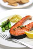 cooked salmon steak