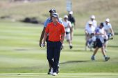 Sep 15, 2013; Lake Forest, IL, USA; Luke Donald approaches the 18th green during the third round of