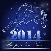 New 2014 year card with horse outline.