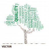 Vector eps concept or conceptual tree word cloud on white background as metaphor for business,brand,trend,quality,media,focus,market,value,product,advertising or customer.Also for corporate wordcloud