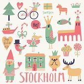 Stockholm Sweden set in vector. Cute stylish scandinavian set with house, church, gnome, birds, moose, bicycle, horse and other Stockholm symbols in bright colors
