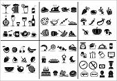 stock photo of food  - 77 food and drink icons set for white background - JPG