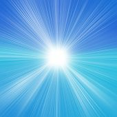 Sun On Blue Sky With Lenses Flare