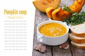 Pumpkin soup with sesame seeds and ingredients