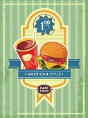 Beautiful Vintage Cover Menu for Fast Food burger and cola